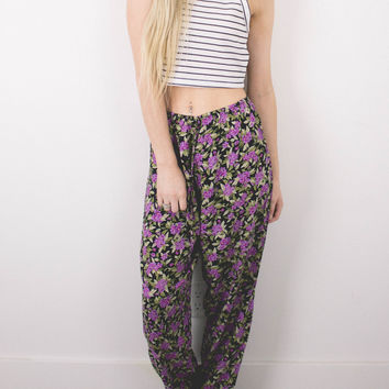 Vintage (SMALL) Floral Print High Waisted Flowy Pants