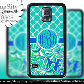 Monogram Aqua Galaxy S5 case S4 Teal Turquoise Floral Tropical Quatrefoil Personalized Galaxy S3 Case Note 2 3 Cover