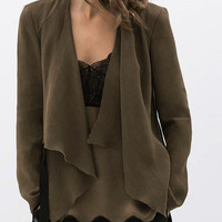 Military Green Waterfall Front Tie Side Long Sleeve Coat