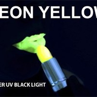 YELLOW Neon Black Light UV Lipstick, Cream Stick, Rave Lipstick