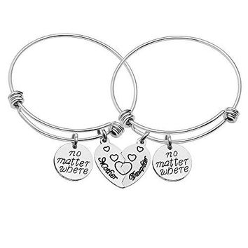 CAROMAY Mother Daughter Bangle Bracelets Jewelry Set Mother Daughter Forever Pack of 2pcs