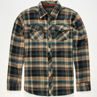 Subculture West Mens Flannel Shirt Khaki  In Sizes