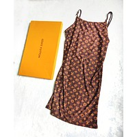 Louis Vuitton LV Fashion Summer Sexy Fashion Print Dress Show Body Straps Sleeveless Dress Women Coffee