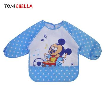 Baby Bibs Waterproof Cartoon Mickey Bear Printed Pattern Newborns Cute Long Sleeve Infants Self Feeding Burp Cloths CL5106