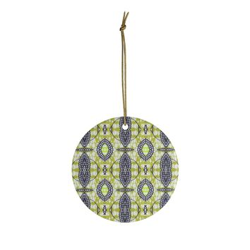 Green African Print  Ceramic Ornaments