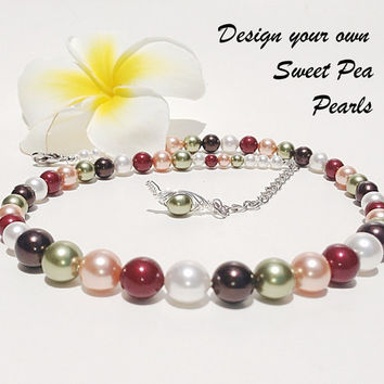 NEW - design your own sweet pea pearls - personalized necklace - birthstone - bridesmaids jewelry up to 3 strands and 9 colors