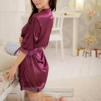 4 Color Sexy Silk Lace Kimono Dressing Gown Open Bath Robe Babydoll Lingerie Set