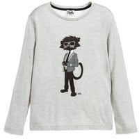Karl Lagerfeld Boys Grey 'Bad Cat' T-shirt