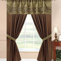 "5pc -42x84"" Vana Window Curtain Drape Sage/Choco"