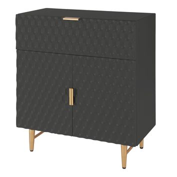 Reggie 1-Drawer Geometric Small Cabinet Glossy Black