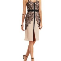 Nude Combo Strappy Lace-Trim Bodycon Dress by Charlotte Russe
