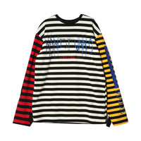 Striped Color Block Extended Sleeve T-Shirt