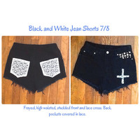 Black and White Lace Jean Shorts. Studded. 7/8 Goth and Hipster.