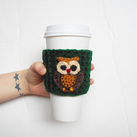 Little Owl Crochet Coffee Cozy, Forest Green and Brown, MADE TO ORDER.