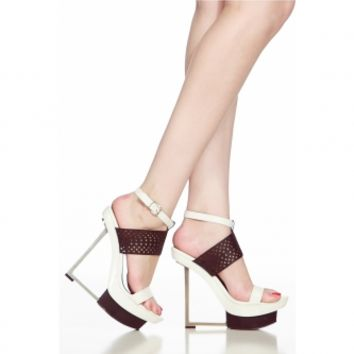 Black White Faux Leather Ankle Strap Angular Platform Heels @ Cicihot Heel Shoes online store sales:Stiletto Heel Shoes,High Heel Pumps,Womens High Heel Shoes,Prom Shoes,Summer Shoes,Spring Shoes,Spool Heel,Womens Dress Shoes