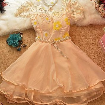 Apricot Patchwork Belt Lace Grenadine Pearl Hollow-out Ruffle Mini Dress