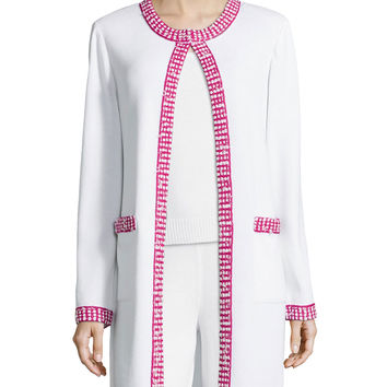 Women's Dotted-Trimmed Long Open Jacket, Bright White - St. John Collection - White