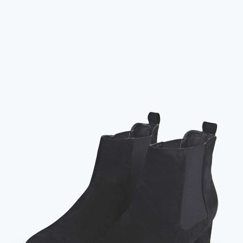 Libby Suedette Elastic Insert Square Toe Boot
