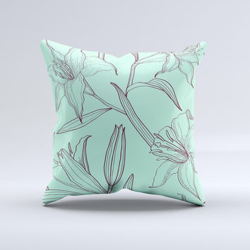 Teal & Brown Thin Flower Pattern ink-Fuzed Decorative Throw Pillow
