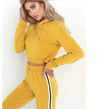 STRIPED SOLID 2 Piece Pullover Hoodie & Pants Fitness Set