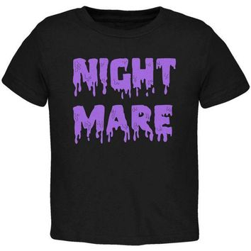 PEAPGQ9 Halloween Nightmare Horror Purple Dripping Text Toddler T Shirt