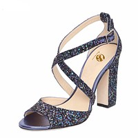 Sexy Women Sandals Popular Glitter Open Toe Square High Heels Sandals Blue Silver Shoes Woman