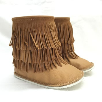 Boho fringe boots, caramel baby boots with rubber sole