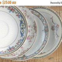 On Sale Mismatched Noritake Saucers Set of 4 Plates for Wedding Bridesmaid Luncheon Tea Party