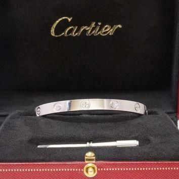 One-nice? CARTIER 18k White Gold Love Bangle Bracelet Size 17 Box Certificate and Scre