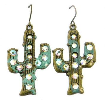 Cactus Motif Earring with AB Crystal