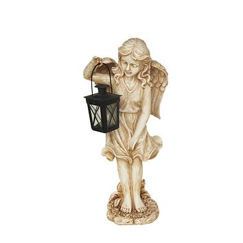 """21"""" Lovely Weathered Ivory Standing Angel With Tealight Candle Lantern Outdoor Garden Patio Statue"""