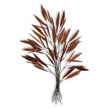 Copper Redtone Foliage Metal Wall Sculpture