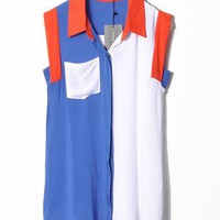 Women Summer ZARA New Splicing Revers Neck Pocket Sleeveless Cotton Orange T-Shirt S/M/L@II1030o $12.99 only in eFexcity.com.