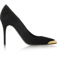 Alexander McQueen - Gold-capped suede pumps