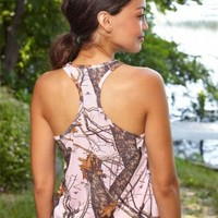 Mossy Oak Pink Racer Back Tank Top