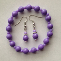 Set of Elastic Purple Beaded Bracelet and Purple Earrings