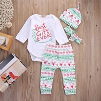 First Christmas Best Clother Baby Boy Girl Tops Romper Deer Leggings Hat Headband Outfits Sets
