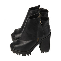 Open-toe Zipper Ankle Boots