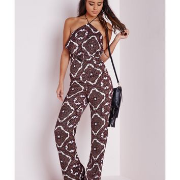 Missguided - Paisley Wide Leg Jumpsuit Burgundy