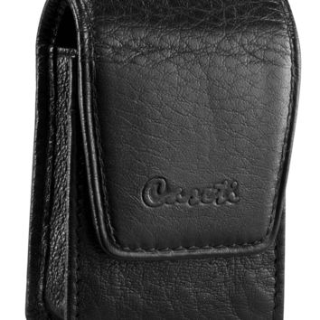 Caseti Smooth Black Leather Lighter Case