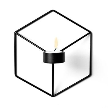 3D Metal Craft Candle Stick  Geometric Candle Holder Sconce Retro Ornament Candlestick drop ship