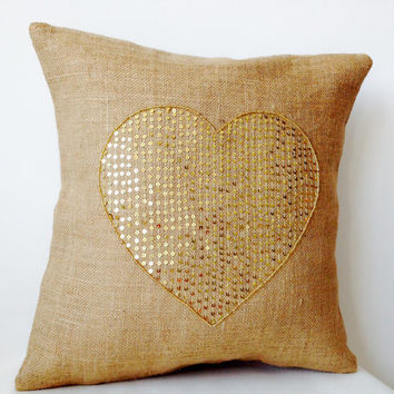 Burlap Pillow Covers Gold Sequin Heart- Decorative Cushion -Valentine -Gift -Heart Cushion -Throw pillow -18x18 -Love Pillow -Dorm -Wedding