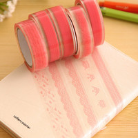 Deco Floral Pink Transparent Color Christmas Glitter Decoration Making Washi Washy Tape Decorative Masking Tape Stickers Korean