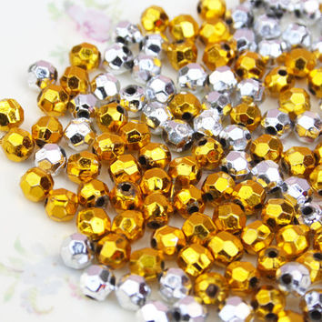 Plastic Metallic Beads, Faceted Rondelle Beads, Gold & Silver, 6mm Beads, Small Beading Supplies, Mixed Set, Jewellery Making Supply