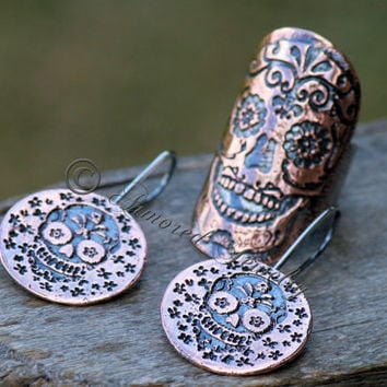 Dia De Los Muertos Sugar Skull Ring & Earring  Set - Sterling Silver and Copper