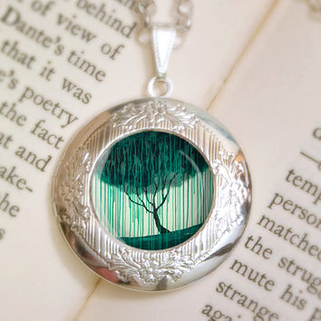 Weeping Willow Locket Necklace - Silver Locket - Wearable Art with Silver Chain