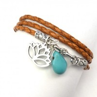 Leather Wrap Bracelet with Lotus and Turquoise | charmed design