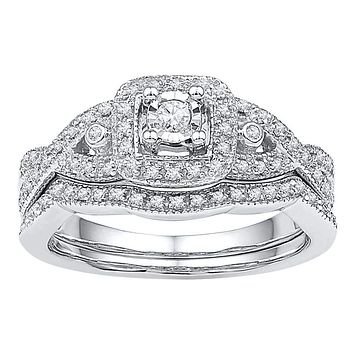 10kt White Gold Women's Round Diamond Twist Bridal Wedding Engagement Ring Band Set 1/4 Cttw - FREE Shipping (US/CAN)
