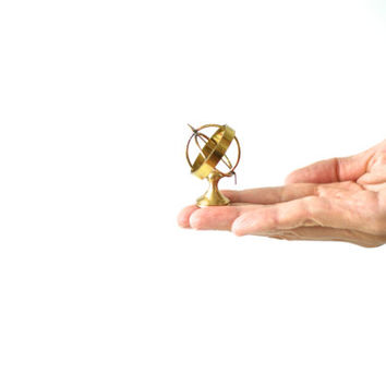 MINIATURE BRASS ARMILLARY or Celestial Sphere with an Arrow, Little Trinkets, Tiny Brass Figurines, Gold Collectibles, Display Case, Box