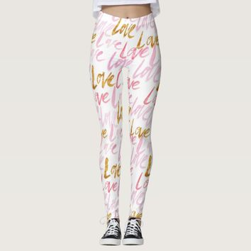 Chic Pink and Gold Love Patterned Leggings